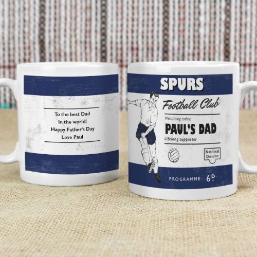 Personalised Vintage Football Navy Supporter's Mug